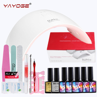 Gel nail kit con lampada 24 W LED Asciugatrice Top & Base Coat Sticker spazzole Strumenti Vernice Per Nail Art YAYOGE
