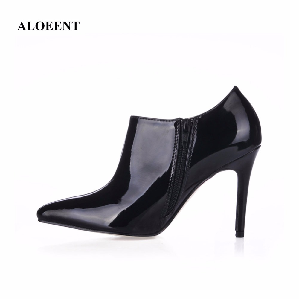 ALOEENT Autumn Fashion Lady High Heels Ankle Boots Woman Party Dress Sexy Pointed Toe Thin Heels Short Boots