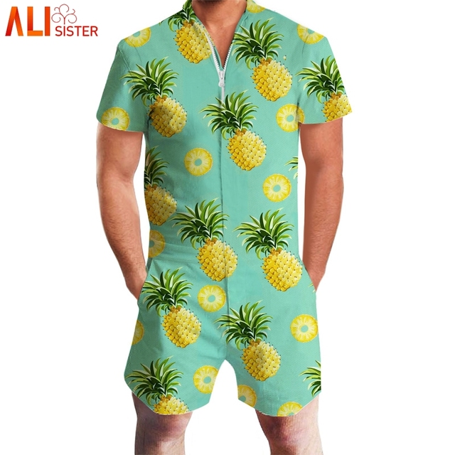 8ffcadeaeb4 Alisister Pineapple Lemon Print 3d Rompers Men Short Sleeve Funny Jumpsuit  Playsuit Harem Cargo Overalls Summer One Piece