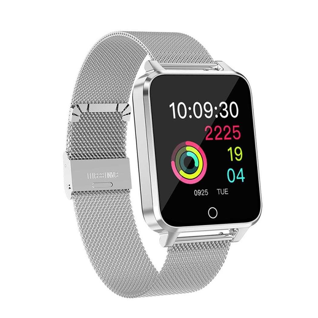Bracelet en métal montre Bluetooth intelligente podomètre de fréquence cardiaque étanche 1.54 pouces Bracelet 250 mAh batterie Li-ion 4.0