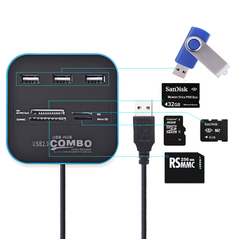 High Speed USB Hub 2.0 3 Ports With Card Reader Mini Hub USB Combo All In One USB Splitter Adapter For PC Laptop Computer
