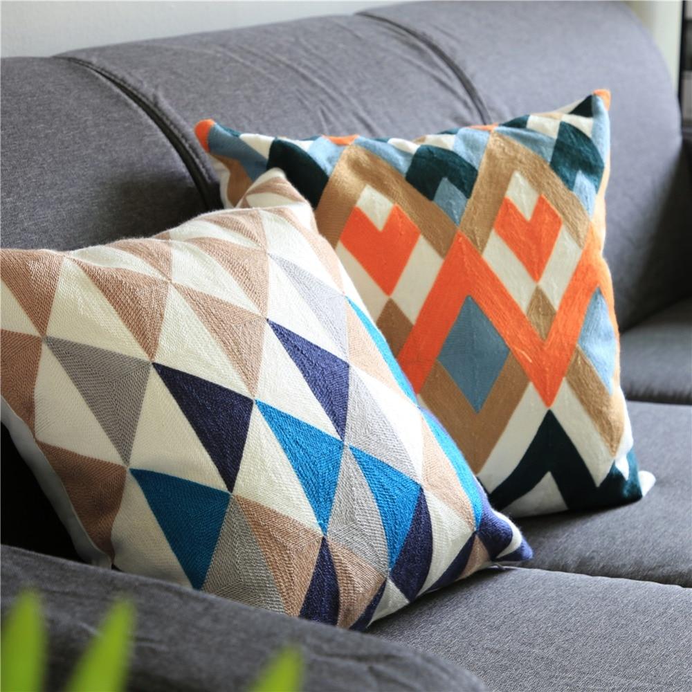 Topfinel геометрический Вышитые Декоративные хлопок подушками случае наволочки для дома диван украшение автомобиля 45x45 см