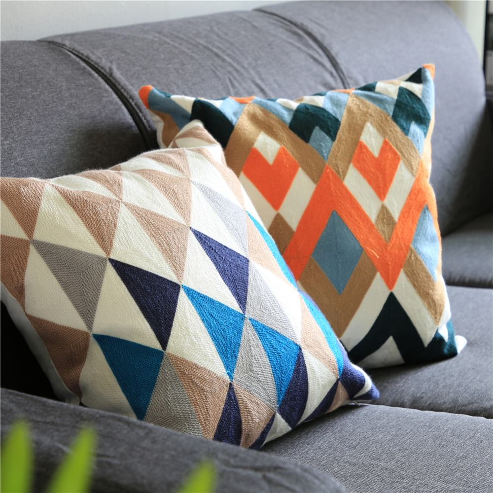 Topfinel Geometric Embroidered Decorative Cotton Throw Pillows Case Cushion Covers for Home Sofa Car Decoration 45x45cm