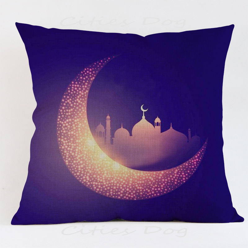 Islamic moon buliding light Cushion Cover Decoration for Home house sofa car chair seat room pillow case friend present gift