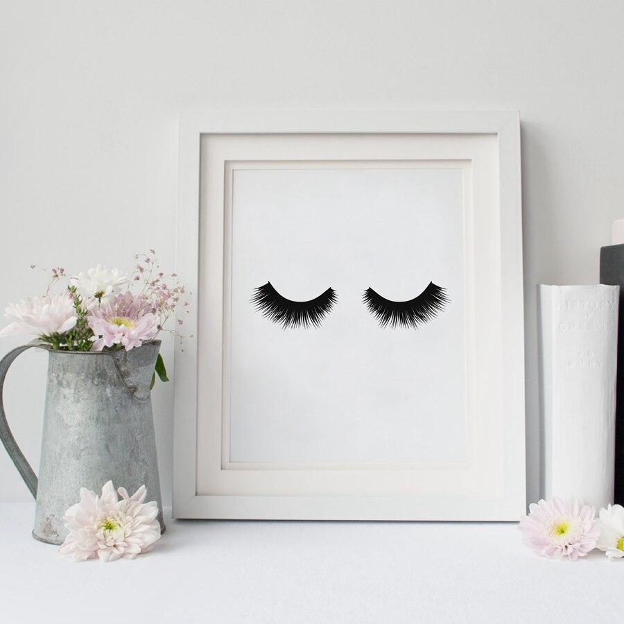 Eyelash canvas print art poster fashion makeup print girl room decor minimalist art poster - Home decoration painting minimalist ...