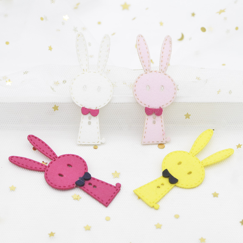 8Pcs Korean Velvet Fabric Padded Cartoon Rabbit Appliques for Handmade Baby Clothes Hat Headwear Brooch Hair Clips Ornament G84