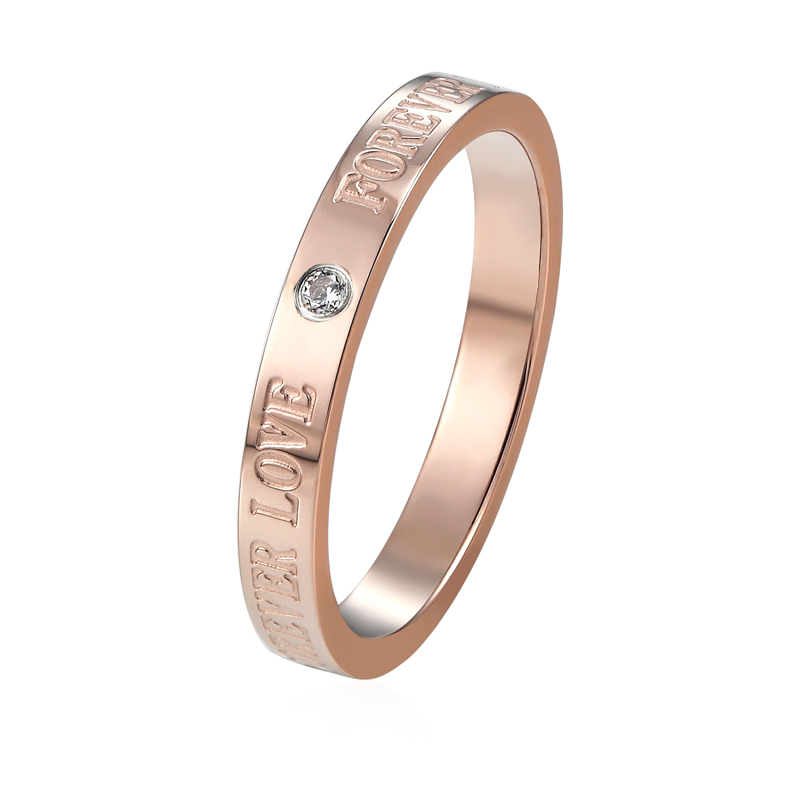New arrivals Anniversary Ring for Women Stainless Steel Jewelry Zircon Crystal Silver Rose Gold Color Carving Forever Love Ring