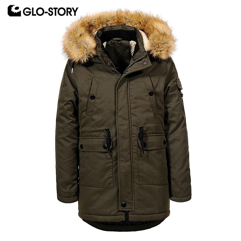 GLO-STORY подростковые для мальчиков Зимняя шерстяная одежда лайнер толстый Обувь на теплом меху с капюшоном Длинные парки детская ветровка па...