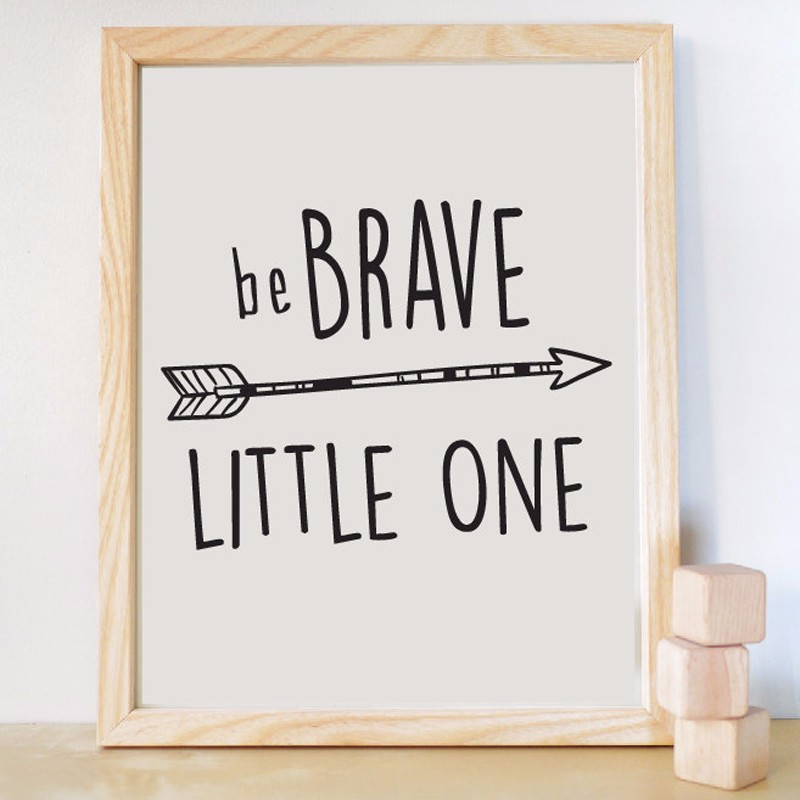 Be Brave Little One Quote Arrow Canvas Oil Painting Print Wall Art Pictures  Nursery Kids Room Decoration Home Decor Unframed In Painting U0026 Calligraphy  From ...
