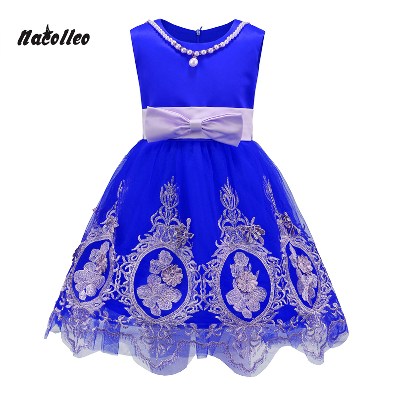 Nacolleo Girls Dress European Style Print Lace up Baby Girls Dress Summer Kids Party Ball Clothes Girl Dress Vestido 100% real photo brand kids red heart sleeve dress american and european style hollow girls clothes baby girl clothes