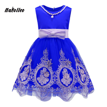 Nacolleo Girls Dress European Style Print Lace up Baby Girls Dress Summer Kids Party Ball Clothes Girl Dress Vestido