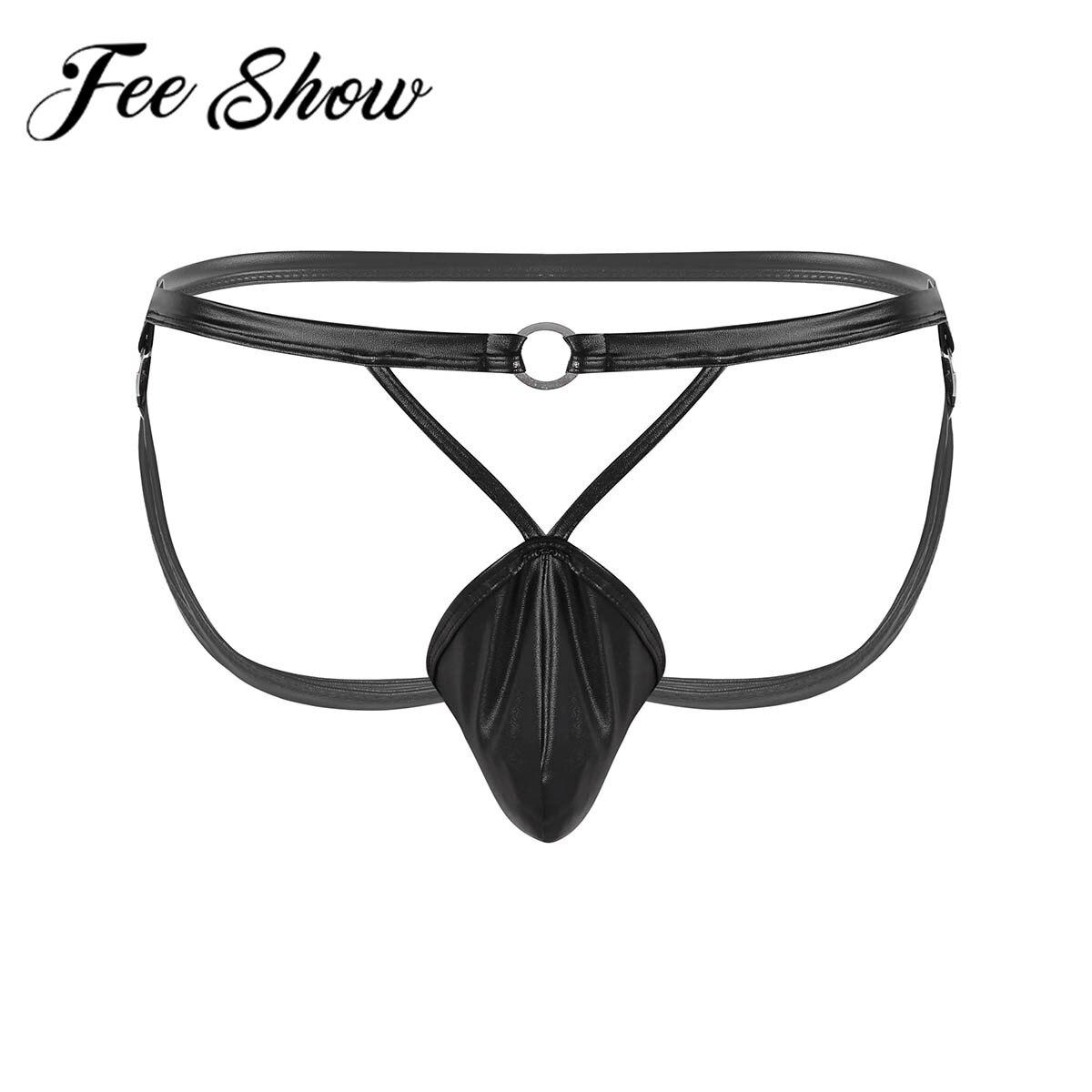 Energisch Sexy Männer Faux Leder Dessous Low Rise Öffnen Hintern Ausbuchtung Beutel Strappy Suspensorium Bikini G-string & Thongs Unterwäsche & Metall O-ringe