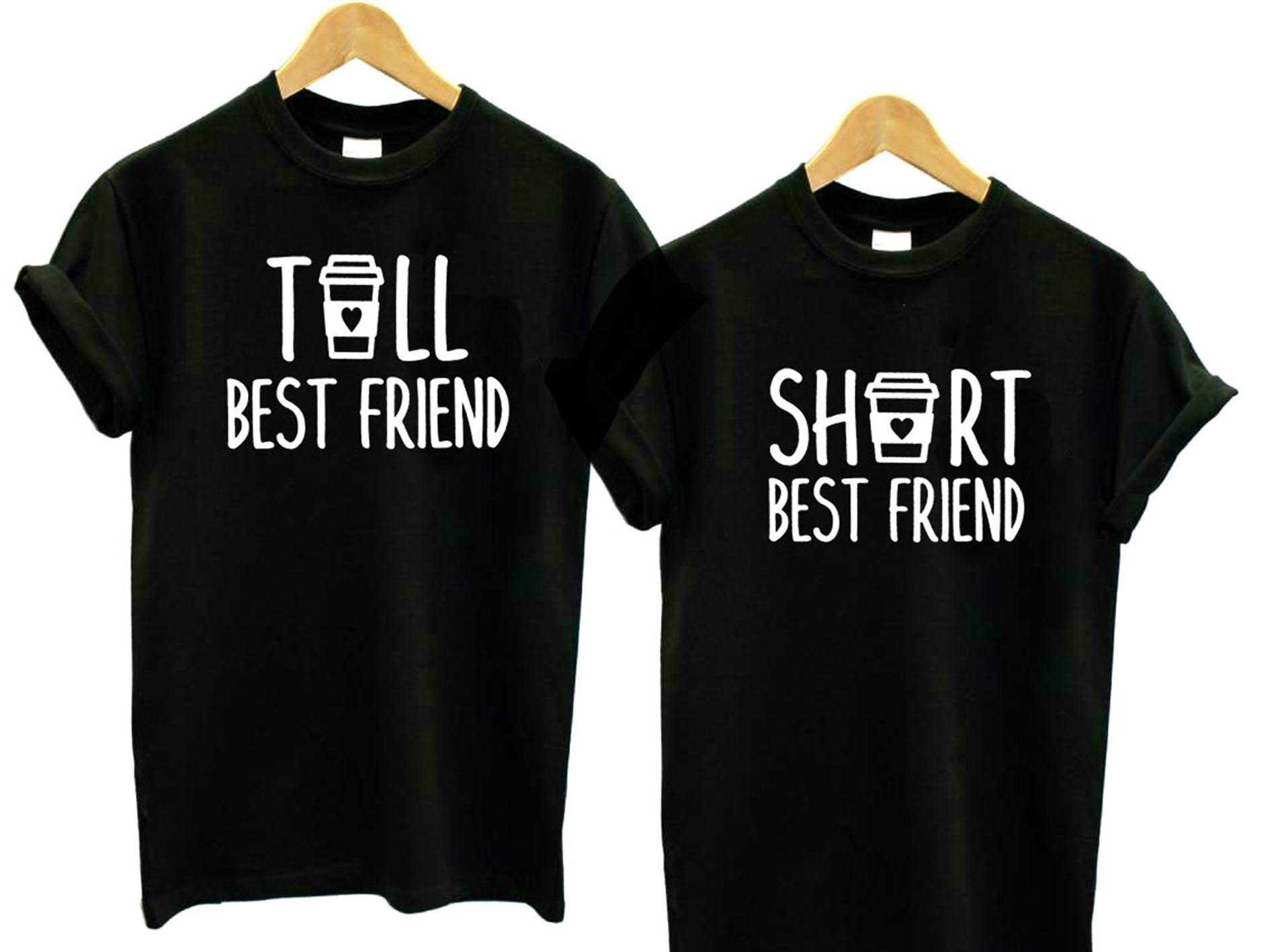 Tall And Short Best Friend Gift Women Tshirt Cotton Casual Funny T Shirt For Lady Yong Girl Top Tee Hipster Drop Ship S-439