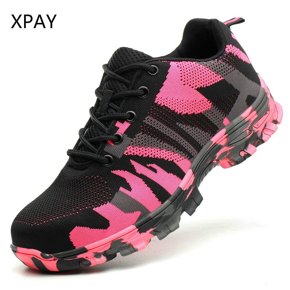 Safety Shoes Men Pink Camouflage Steel Toe Steel Sole  Skid Proof Work Boots  Men Shoes