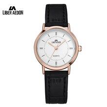 Liber Aedon Fashion Dress Women Watch Leather Watchband Sport Quartz Ladies Wristwatch 30M Waterproof Simple Female