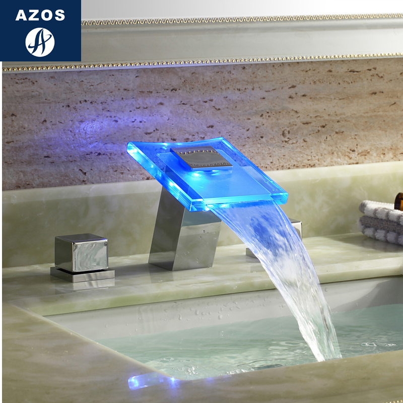 Azos Split FaucetDiscoloration Waterfall Brass Chrome Cold and Hot Switch Temperature Control LED Shower Room Basin Bathroom Cab