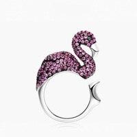 Mode Zirkoon Flamingo Koperen Ring Vrouwen Persoonlijkheid tropische Creatieve Overdreven Paars Dier Verstelbare Ring Fijne Sieraden