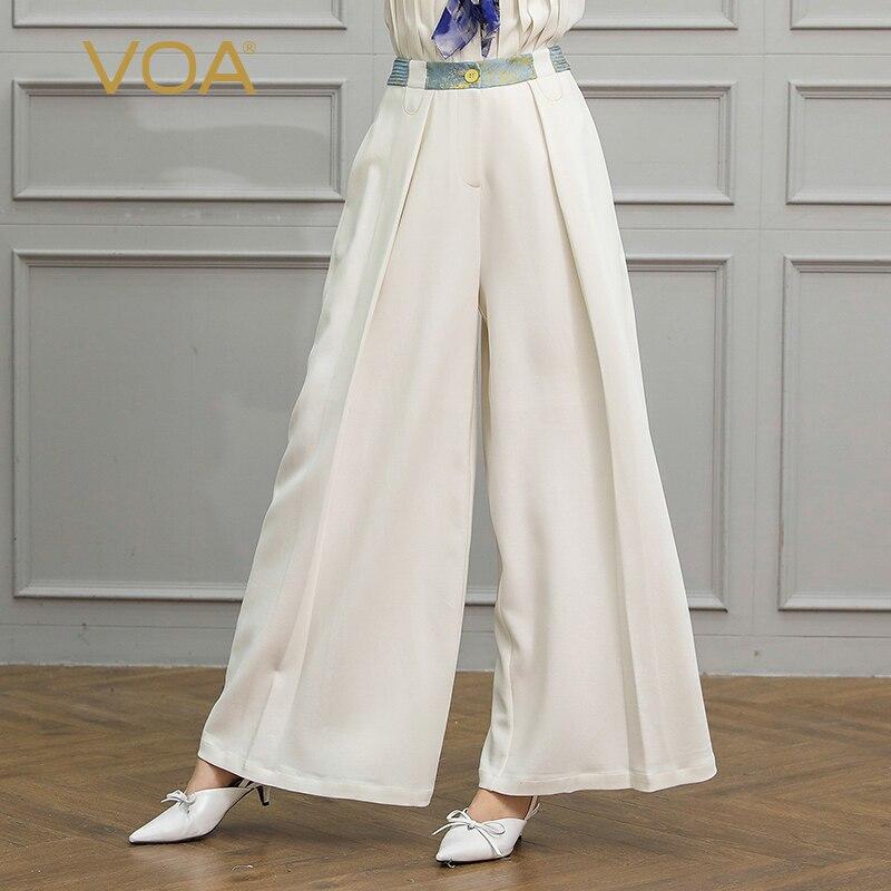 VOA белый шелк Длинные брюки Для женщин офисные широкие штаны Большой Размеры свободные Повседневное осень K588