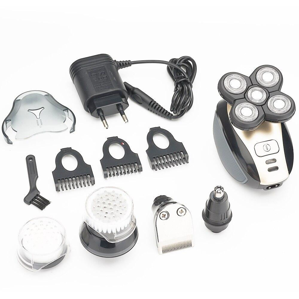 5 en 1 rasoir électronique pour homme beauté barbe & épilateur avec ensemble complet d'accessoires, offert avec connecteur USB