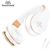 Auriculares, sound intone plegable auriculares con micrófono y control de volumen, en la oreja los auriculares con cable para el iphone y android
