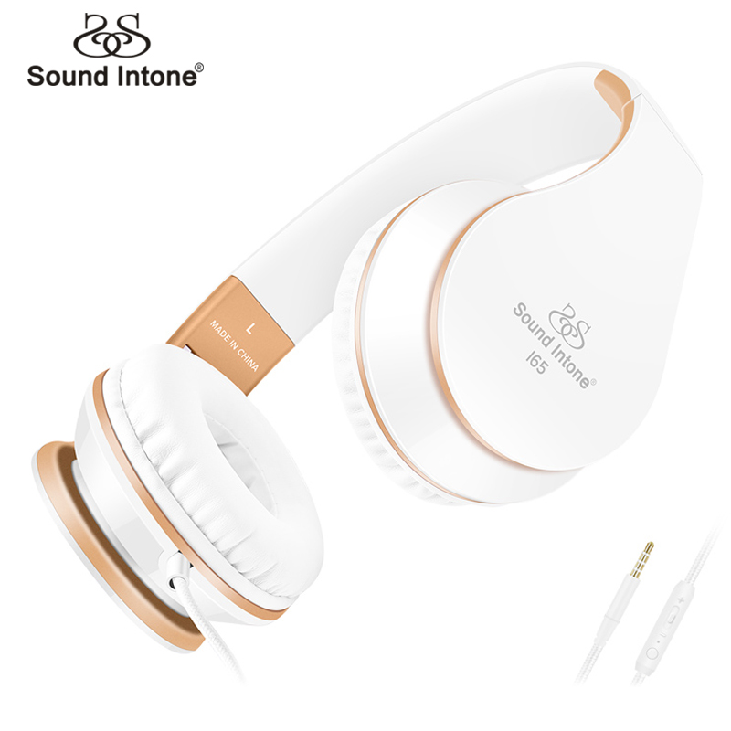 Sound Intone Foldable Headphones With Microphone Volume Control Over-ear Wired Headset For iPhone Xiaomi PC Girls' Kids' Gift merrisport bluetooth headphones with microphone over ear foldable portable music bass headsets for iphone htc cellphones laptop