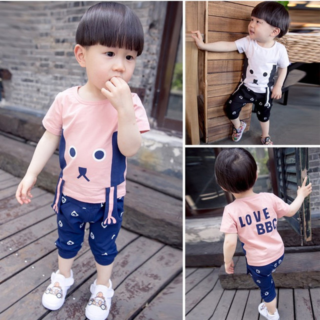 bb498fc2b65e9 2016 New Summer Design Baby boys clothes 6M-5Years Cartoon Cotton Cute  Toddler Boys Clothing vetement enfant garcon de marque