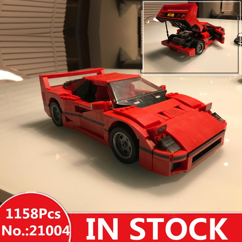 IN - STOCK Free Shipping 1158pcs NEW LEPIN 21004 F40 Sports Car Model Building Kits Blocks Bricks Compatible 10248 Boys Gift 21004 1157pcs technic series f40 sports car building blocks set bricks educational toys for kids gifts compatible with 10248