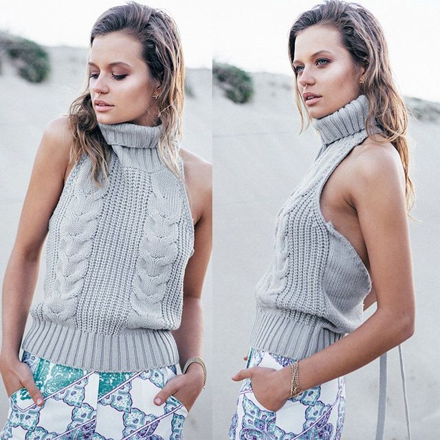 women Turtleneck sweater casual backless sleeveless pullover Jumper slim knitted female Tops grey Pull Femme gilet femme manche