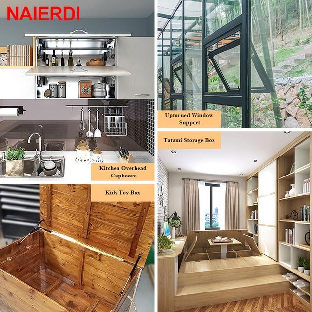 4PCS NAIERDI 10-15KG Furniture Gas Spring Hinges Kitchen Cupboard Cabinet Hydraulic Hinge Door Strut Lid Support Box Hardware