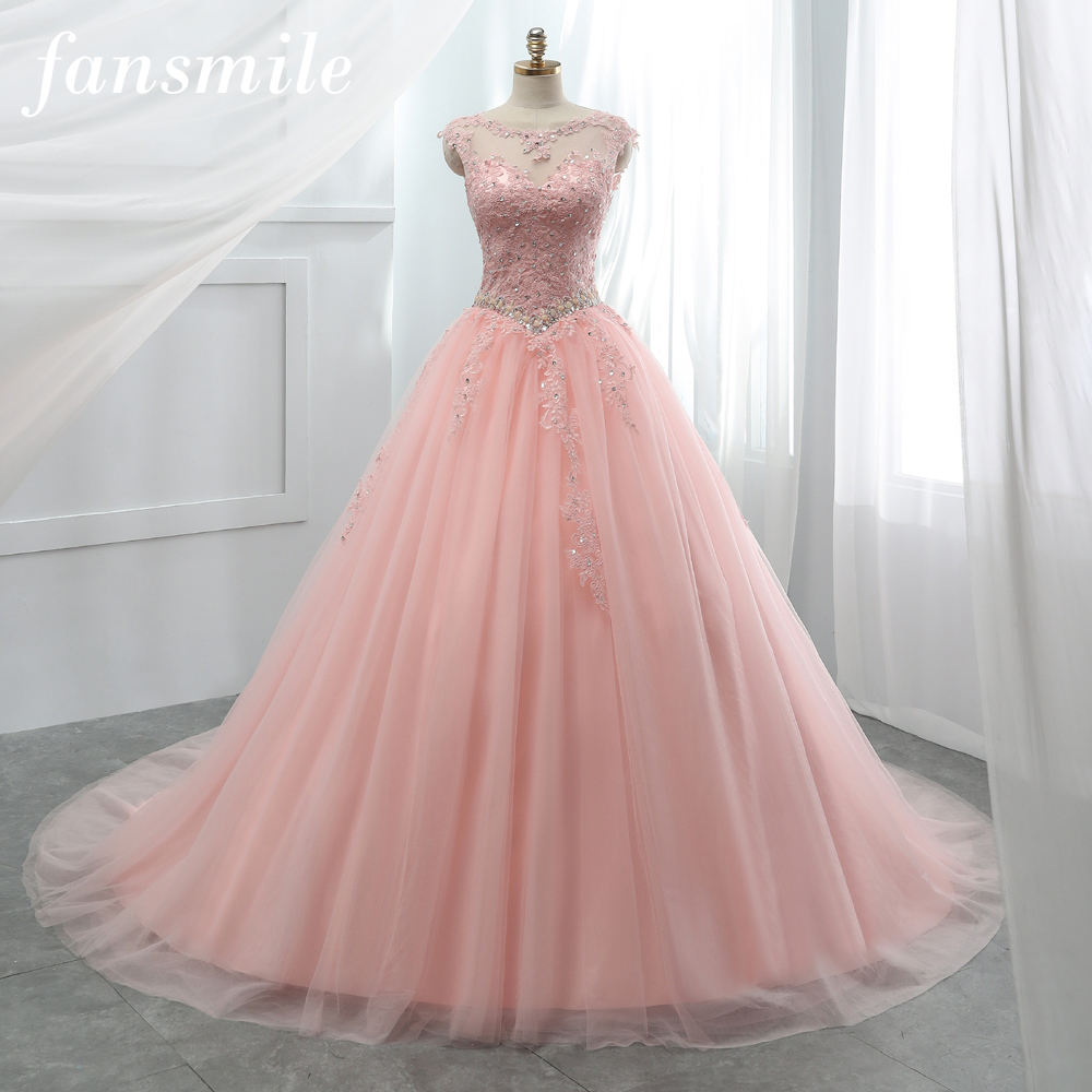 Image 2 - Fansmile Tulle Mariage Vestido De Noiva Pink Lace Wedding Dresses 2019 Plus Size Long Train Wedding Gowns Bride Dress FSM 458T-in Wedding Dresses from Weddings & Events