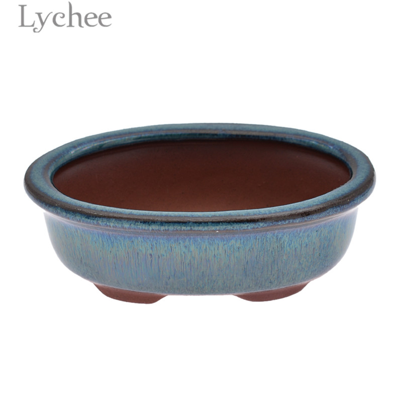 Lychee Life Oval Bonsai Pot Glazed Purple Clay Flower Pot Planter Home Garden Decoration Supplies