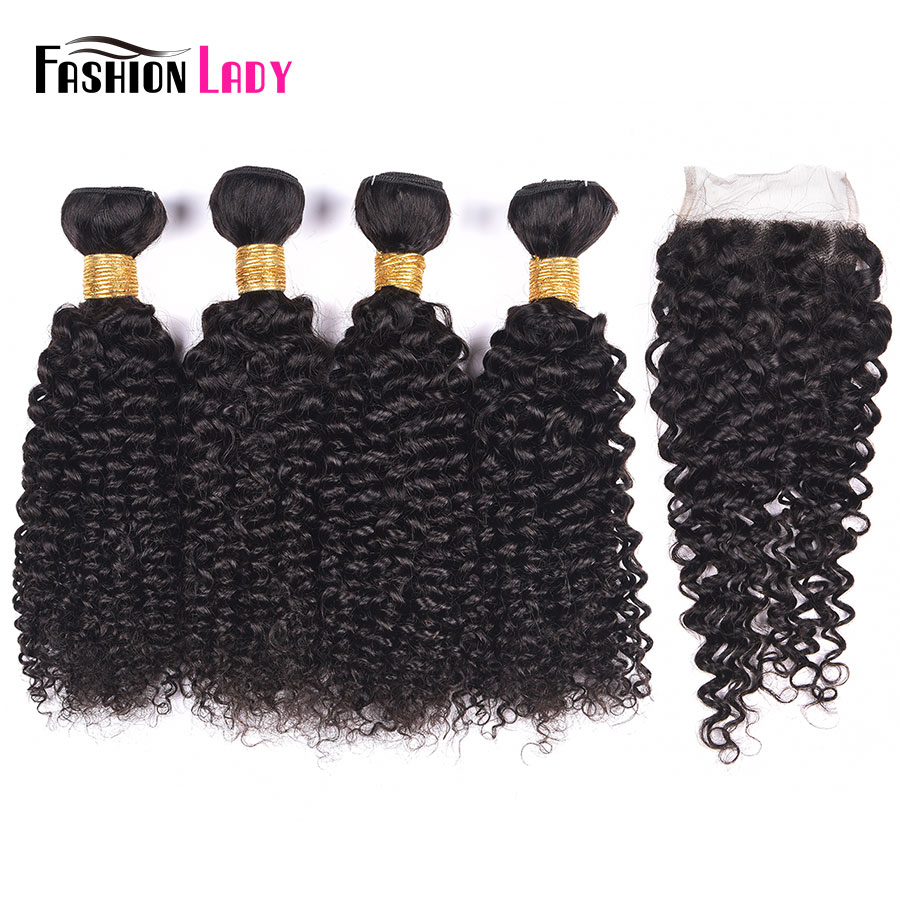 Fashion Lady Pre-Colored Brazilian Hair Bundles With Closure Natural Color 4 Bundles Curly Weave With Closure Non-Remy Hair