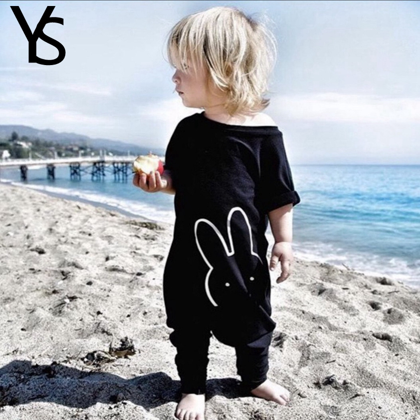 6M-3T Baby Girls Bodysuits 100% Cotton Cute Casual Overalls Black Short Sleeve Summer Jumpsuit Infant Baby Boys Girls Clothing