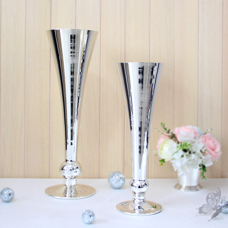 Silver white metal vasese 1032 1033 wedding home for Aana decoration wedding accessories