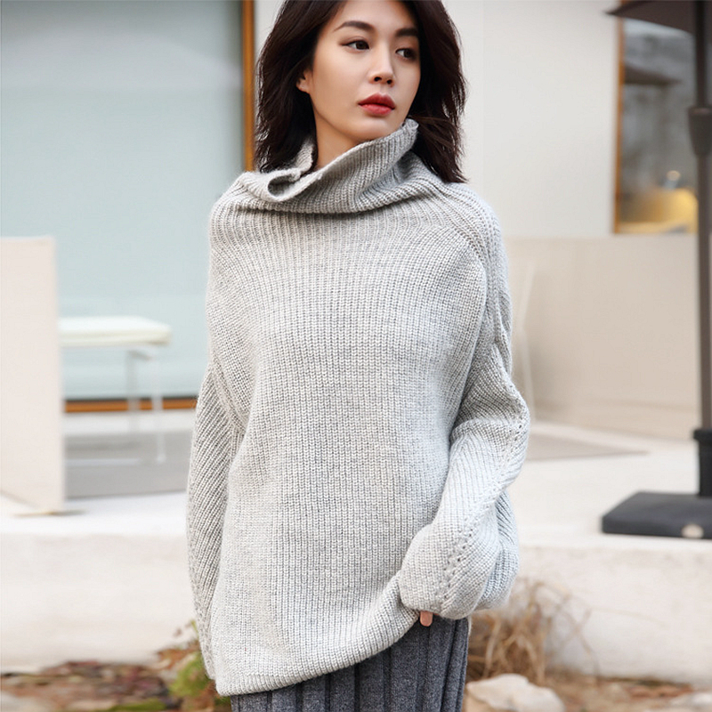 Lazy Sweater Women Mohair Wool Blending Solid Knitted Turtleneck Drop shoulder 3 Colors Knitwear Ladies 2018