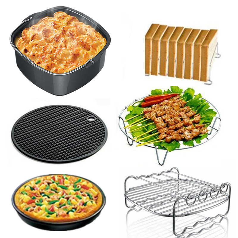 Square Basket Quality Air Fryer Accessories 6pcs/set 7 Inch Air Frying Pan Accessories Fryer Baking Basket Pizza Plate Mat Tools