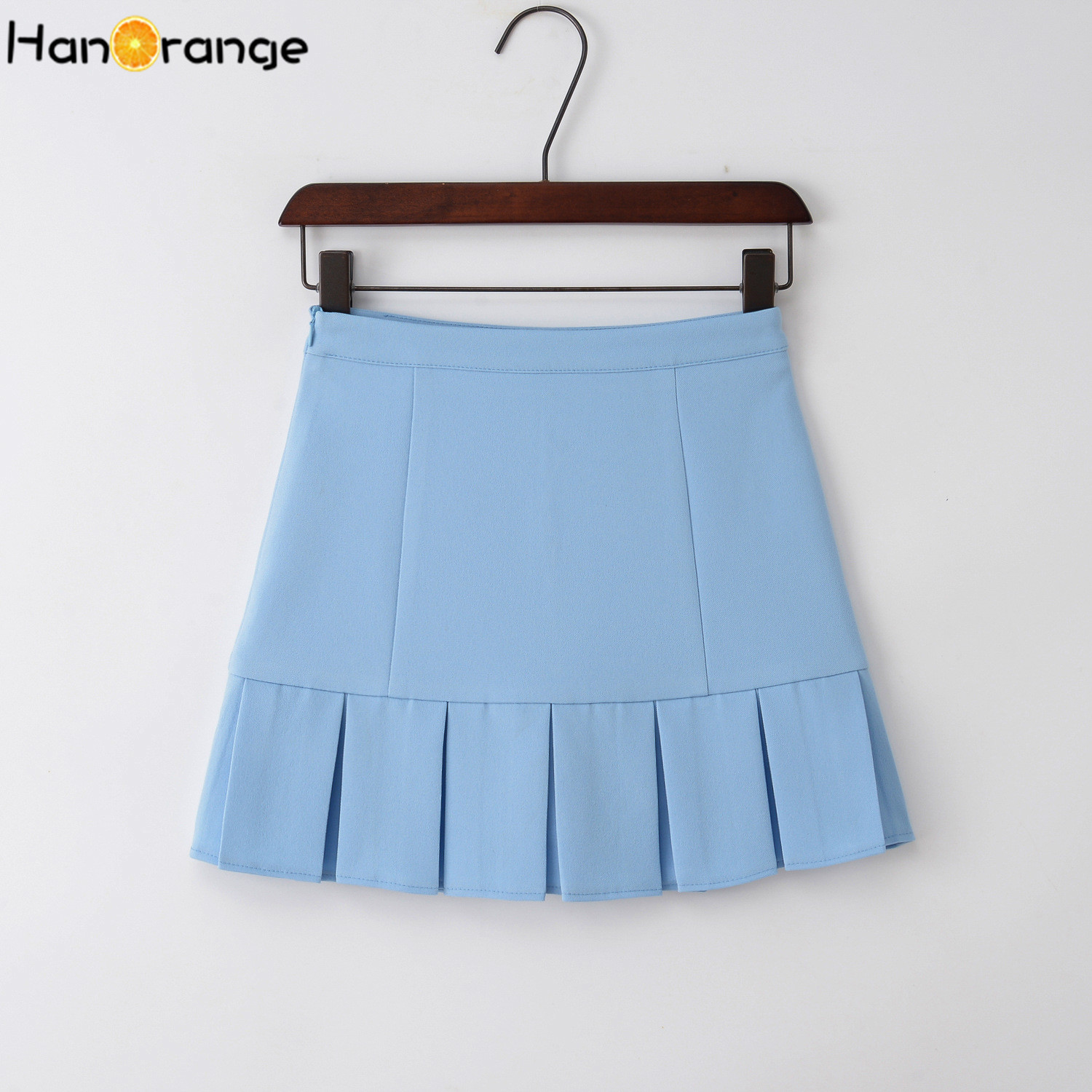 HanOrange 2019 High Waist Slim College Preppy Style Pleated Skirt With Safety Pant White/Black/Pink/Dark Blue/Sky Blue XS-XXL