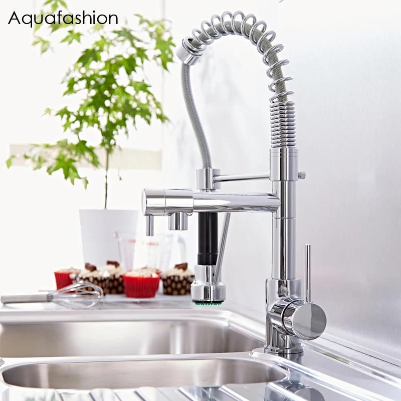 commercial style kitchen faucet mixer flexible double spout kitchen faucet hot and cold water kitchen sink faucet
