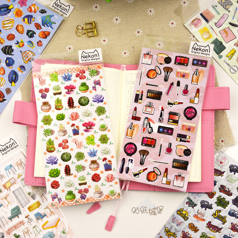 Succulent Perfume Table Bullet Journal Sticker Scrapbook Decoration PVC Stationery DIY Stickers School Office Supply