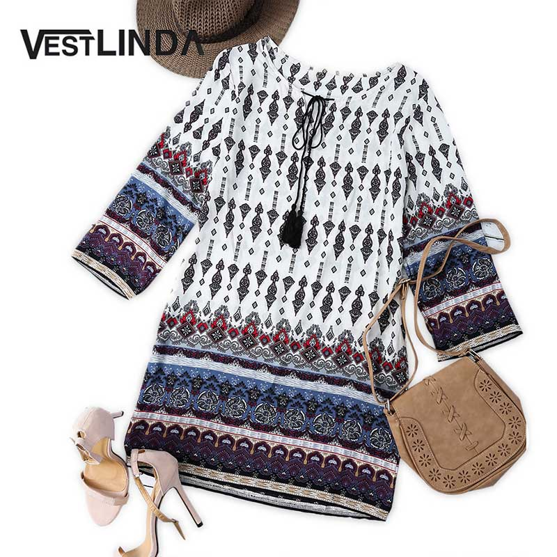 VESTLINDA Vintage Ethnic Print Summer Mini T Shirt Dress Women Bohemian Long Sleeve Party Dresses Boho Beach Dress