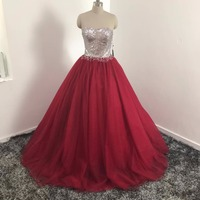 Vinca nắng New Burgundy Prom Gowns bóng gown Tulle Prom Dress Sweetheart Floor-length Dài Vestidos de fiesta Đảng Dresses