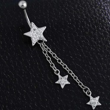 Pretty Belly Piercing Crystal Star Dangle Piercing Navel Ring Belly Bar Body Piercing 1pc Belly Jewelry 1.6mm