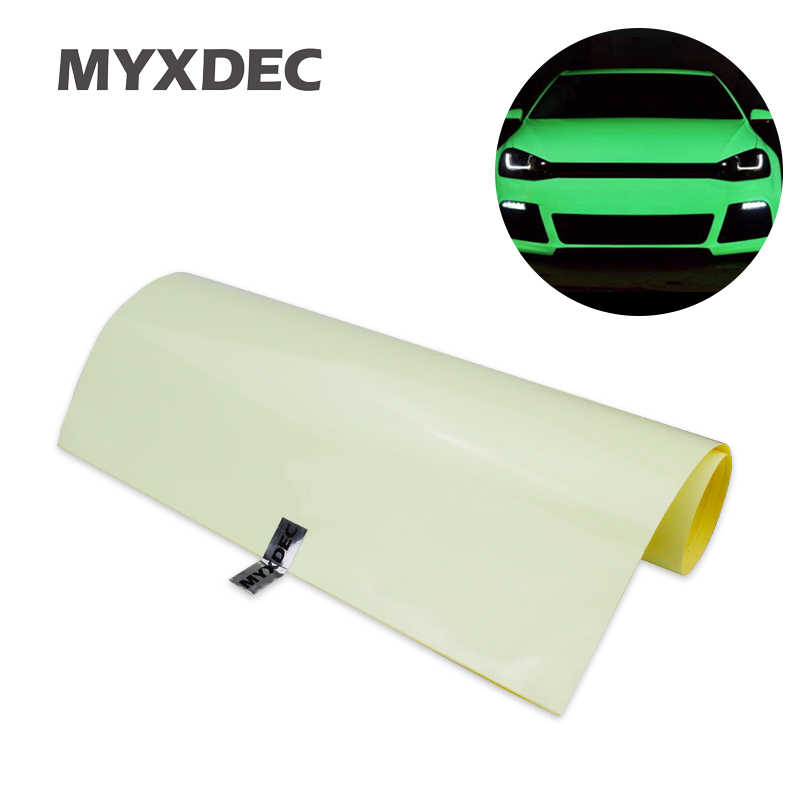 124x30cm Car Green Luminous Sticker Glow Vinyl Wrap Film Glue PVC With Bubble Free High Energy Photoluminescent Glow In The Dark