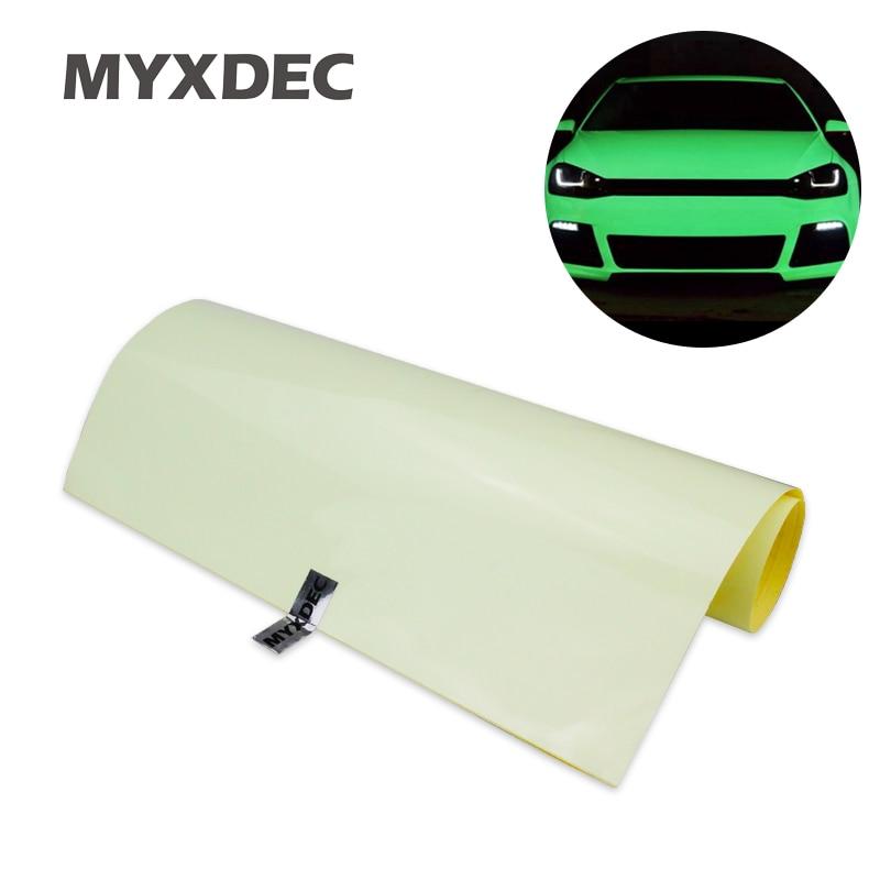 124x30cm Car Green Luminous Sticker Glow Vinyl Wrap Film Glue PVC With Bubble Free High Energy Photoluminescent Glow In The Dark