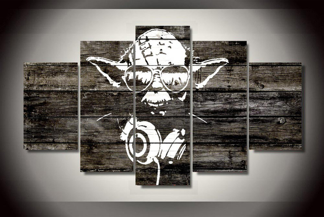 Modular paintings on the wall HD Print Canvas wall art painting Yoda star wars poster room furnishing fabrics Free shipping