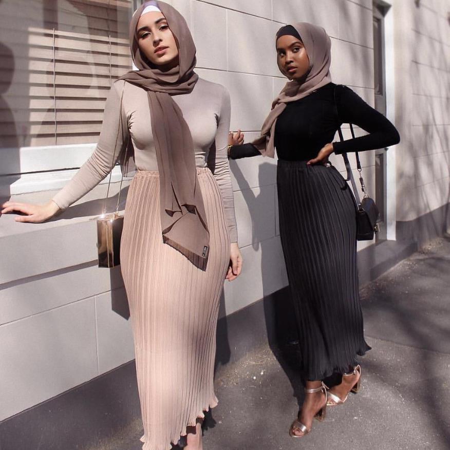 Fashion Women's Pleated Skirts Chiffon Long Skirt Princess Elegant Modest Muslim Bottoms Longer Party Islamic Clothing Wq1533