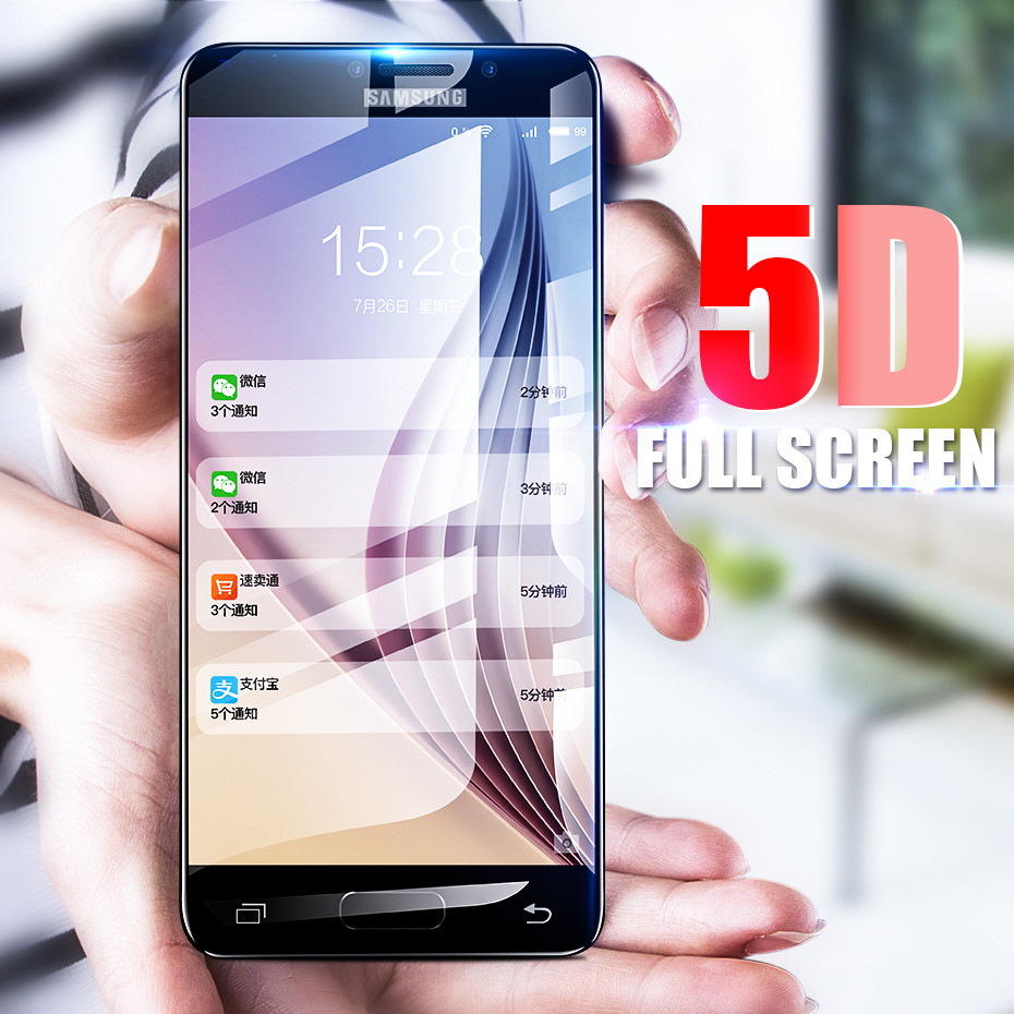 Galleria fotografica VOERO 5D Full Cover Tempered Glass For Samsung Galaxy A3 A5 A7 2017 Screen Protector For Samsung A8 Plus 2018 Tempered Glass