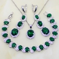 925 Joyería de Plata Esterlina Oval Verde Esmeralda Creado Topacio Blanco Sistemas de la Joyería de Las Mujeres Pendientes/Colgante/Collar/Pulsera T066