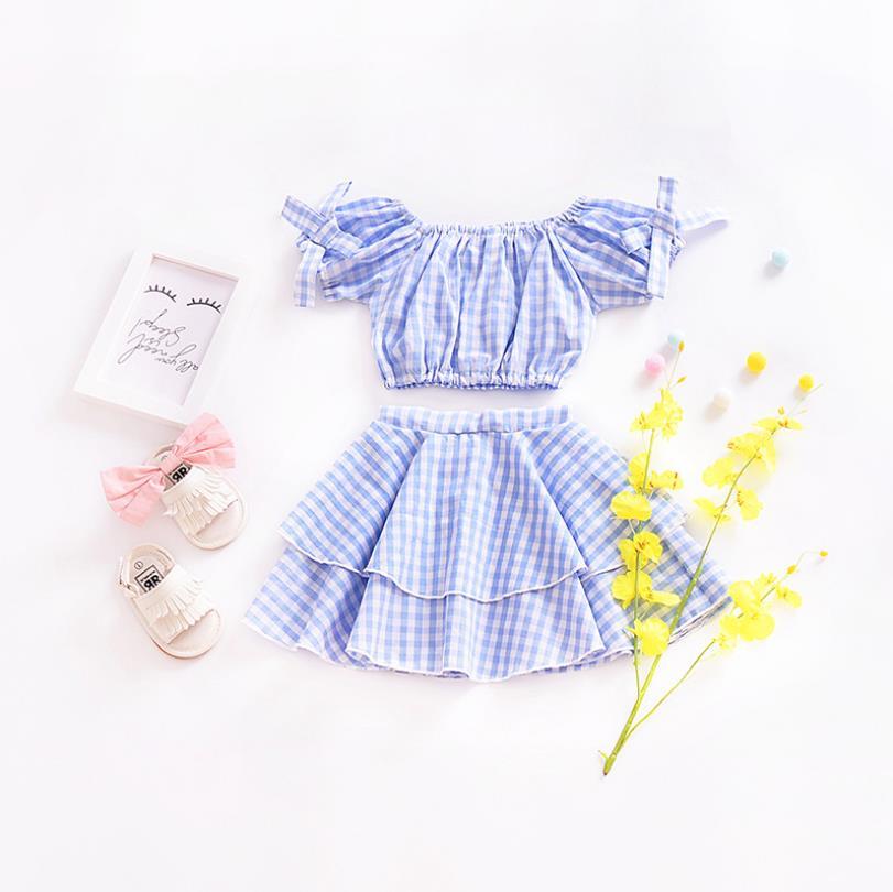 2019 女の赤ちゃんサマー綿ファッション甘いセット、 tシャツ + フリルスカート 5 セット/ロット、卸売、送料無料  グループ上の ママ & キッズ からの 服セット の中 1