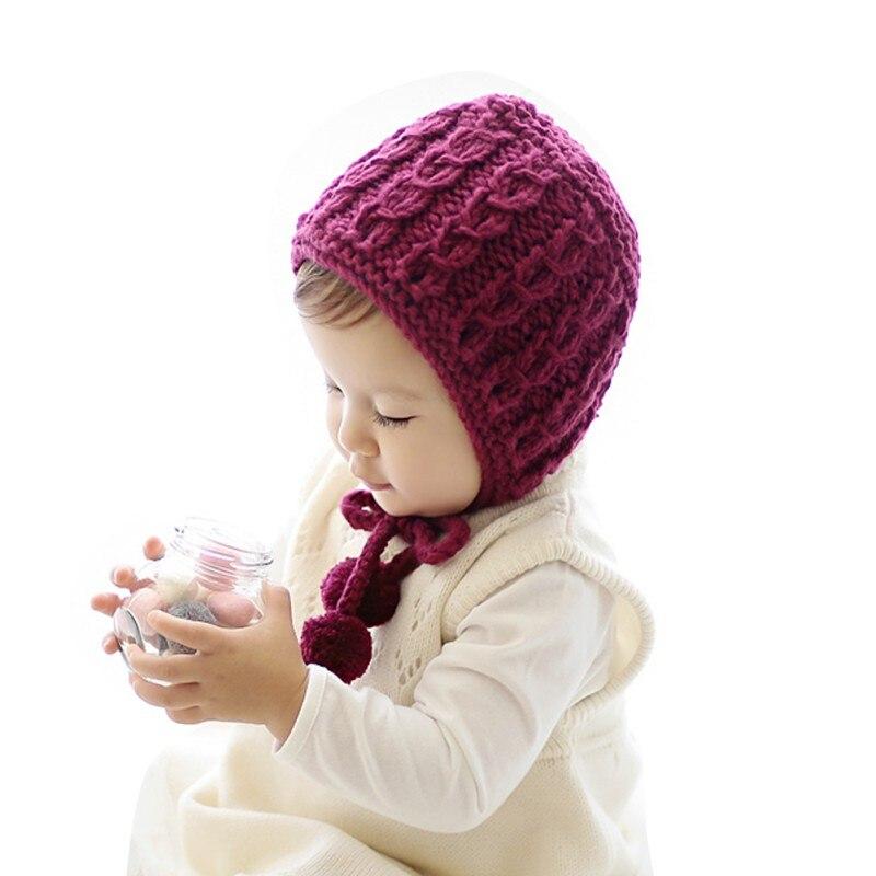 Bebê recém-nascido outono inverno rendas-up chapéu de malha crianças gorro infantil meninas meninos bonito quente boné 6-24 m